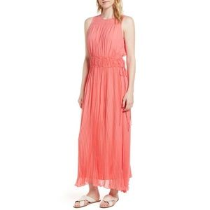 NEW! Lewit Silk Pleated Crinkle Long Maxi Dress